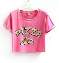 Womens T Shirts Pastel Bleu Pizza Crop Top T-shirt t Shirt Vintage Red White Black