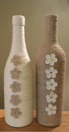 Stunning Twine Wrapped Wine Bottle by StunningBottlesArt on Etsy