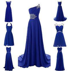 New Royal Blue Plus Size Chiffon Wedding Bridesmaid Dress Evening Formal Gown