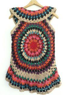 Crochet+PATTERN+for+Women's+Mandala+Vest+by+VanDruDesigns+on+Etsy,+$6.00