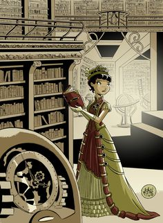"Steampunk Librarian illustration by Mike Maihack . I only recently discovered steampunk and every time I see something ""steampunkish"" I get a happy tingly type feeling. Costume Steampunk, Steampunk Fashion, Steampunk Movies, I Love Books, Good Books, Steampunk Kunst, Illustrations, Dieselpunk, Victorian Era"