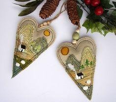 Irish Landscape Art Textile Heart Ornament Handmade Irish Tweed Landscape Irish Christmas Gift Co Kerry Ireland The Kingdom's Green and Gold