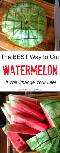 Kids Meals how to cut watermelon the easy way - After years of brushing dirt off the container of watermelon, finally I've found how to cut a watermelon for kids! This is simple and perfect for children. Fruit Recipes, Summer Recipes, Cooking Recipes, Snack Recipes, Baking Tips, Kid Friendly Meals, Fruits And Veggies, Vegetables, Food Hacks