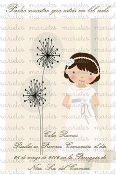 ♥ Recordatorios Primera COMUNIÓN ♥ Marietes Ilustraciones : Blog de Moda Infantil, Moda Bebé y Premamá ♥ La casita de Martina ♥