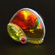 Ammolite Delight Ring by Helen Blythe-Hart. Ammolite is my favorite and oldest gem on Earth. Jewelry Crafts, Jewelry Art, Jewelry Rings, Jewelry Design, Unique Jewelry, Artisan Jewelry, Photo Jewelry, Gemstone Jewelry, Gemstones