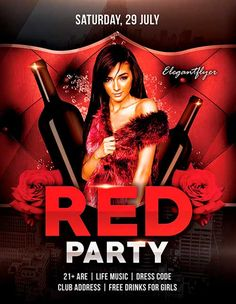 Free Red Party PSD Flyer Template - http://freepsdflyer.com/free-red-party-psd-flyer-template/ Free Red Party PSD Flyer Template - PSD is set up in 1275×1875 dimension (4″ х 6″ with 0,25″ bleed). You can easily change texts, content, images, objects and color palette. The PSD file is very well organized, with color coded groups and layers named appropriately. Remember, all stock images of models and other people used only for demonstration all charms of the flyer an