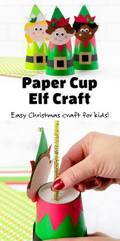 Paper Cup Elf Craft - An easy paper cup Christmas craft for kids and adults. Includes a free printable template, which makes it a simple holiday decoration to make for home or school. Looks cute hung up as an ornament! 🎄 Christmas Activities For Kids, Arts And Crafts For Kids Toddlers, Arts And Crafts For Kids Easy, Craft Activities For Kids, Christmas Crafts For Kids, Handmade Christmas, Kid Crafts, Holiday Crafts, Printable Crafts