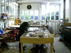 The workshop of french stained glass artist Julie Bernard