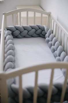 DOUBLE braided grey crib bumper pads -Nursery pillow Mini crib bedding, Crib bumper pillow for boy Braided crib bumper are made of cotton and high quality FILLING that is HYPOALLERGENIC. Every bumper goes with set .