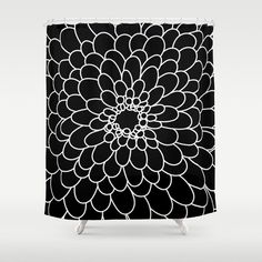 Black Chrysanth Shower Curtain by bitart Bathroom Curtains, Shower Curtains, Scandinavian Bathroom, Hooks, Crisp, Tapestry, Colorful, Usa, Space