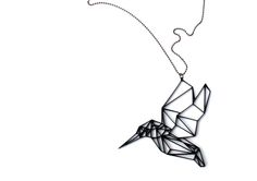 Hummingbird Necklace is a geometric stylishsolution that suits every occasion. It's both organic and minimalistic in style. It's available withathin dark ball-chain or with a wax cord.