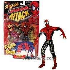 Toy Biz Year 1998 Marvel Comics Spider-Man Sneak Attack Flip 'N Trap 6 Inch Tall Figure - WEB CATCHER SPIDEY (Red/Black) with Webnet Catcher, Spider and Sticker