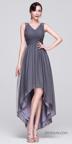 Make a fashionable entrance at the party in this captivating asymmetrical dress. #JJsHouse #Eveningdresses