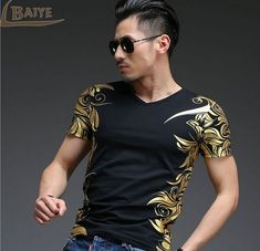 Cheap t-shirt men luxury, Buy Quality t-shirt men directly from China v neck Suppliers: TBAIYE New Summer Bronzing Casual Short Sleeve V Neck T-shirt Men Luxury Brand 2017 Fitness Cotton Printed Men's Teea Clothing Male T Shirt, Shirt Men, Tee Shirt, Slim Fit Casual Shirts, Branded T Shirts, Shirt Outfit, Shirt Dress, Workout Shirts, V Neck T Shirt