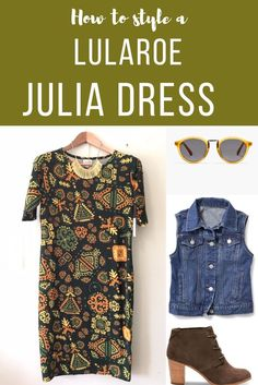 Styling your LuLaRoe JULIA dress with pieces you already own!  Jewelry, cardigans, scarves, and shoes will give your style your personal touch! Chic and comfortable! Facebook.com/groups/LuLaRoePrisandJulie/