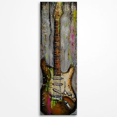 Gift for musician Guitar painting Original Gray and Brown textured guitar painting by Magda Magier