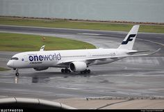 "Finnair Airbus A350-941XWB ""OneWorld Alliance LogoJet"" (registered OH-LWB) taxiing at Hong Kong"