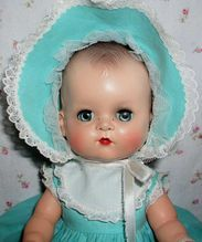 """Early 1950s 12"""" Ideal MOLDED HAIR Betsy Wetsy in Layette Suitcase--looks just like one I had."""