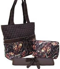 I love this!! With orange writing!! Camo and Brown - Monogrammed Camo Diaper Bag (3 pieces)