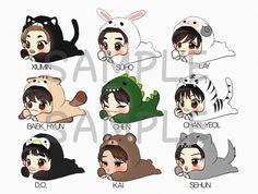 ☆my exo fanart☆ Kpop Drawings, Funny Drawings, Cartoon Drawings, Animal Drawings, Drawing Animals, Exo Ot9, Kpop Exo, Sehun, Exo Cartoon