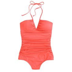 J Crew Neon ruched halter one-piece swimsuit $42