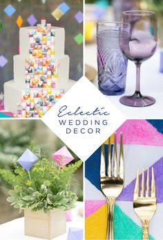Get inspired to create an eclectic look with bright colors and modern, geometric shapes from this incredible wedding reception featured on Every Last Detail. With ideas for centerpieces, tableware, a wedding cake, and decorations—these styles are perfect for any bride and groom with fun and vibrant personalities!