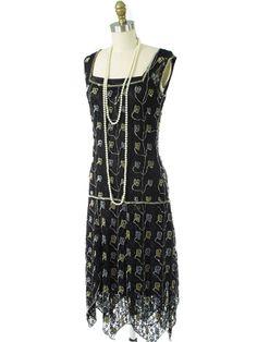20s style beaded black lace handkerchief hem flapper dress- Blue Velvet Vintage exclusive. #1920sStyle #flapperdress #flappers #GatsbyDresses