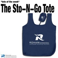 #RohamInt #ToteoftheWeek– The Sto-N-Go Tote!  The Sto-N-Go Tote is a versatile tote bag that has ample space to carry and folds up into its own storage pouch! #PromoteYourBusiness #PromoteYourBrand #PromotionalProducts #Branding #CustomizedMarketing #Promos #PromotionalToteBag #CustomToteBag #BrandedToteBag #BrandedCustomBag #Tote #BrandedBag #TradeshowPromotionalProducts #CustomPromotionalProducts #BrandedMarketing