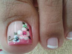 17 Ideas french pedicure designs toenails pretty toes for 2019 Flower Pedicure Designs, French Pedicure Designs, Toenail Art Designs, Pedicure Nail Art, Toe Nail Art, Fancy Nails, Pretty Nails, Pretty Toes, Feet Nails