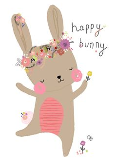Aless Baylis for Petite Louise  #happy #bunny #floral #illustration