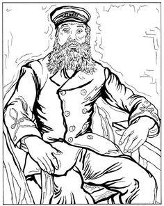 van gogh color page | Postbode Joseph Roulin 1888