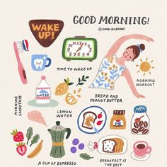 latest photo Health lifestyle illustration style recipe, Morning routines & :] What time do you wake up? Do you have any activities that you do every morning? I always start my day with a BIG . Vie Motivation, Self Care Activities, Self Care Routine, Cute Illustration, Better Life, Self Improvement, Self Help, Happy Life, Happy Heart