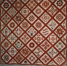 "Friendship Quilt, Harford county, Maryland, 1848. Central block is inscribed in ink ""Sophia Pyle's quilt pieced by her mother in 1848.  102x102"".  Predominantly red & white."