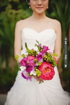 pink, purple and green wedding bouquet designed Christa Rose | VIA #WEDDINGPINS.NET