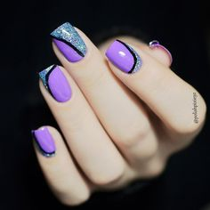 'Meet me Halfway' in combo with 'Sky Melt' both from 😍 Everything covered with No Wipe Top Coat. Love Nails, Pretty Nails, Madam Glam, Geometric Nail, Purple Nails, Nail Polish, Nail Art, Beauty, Top Coat