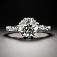2.03 Carat European-Cut Diamond and Platinum Engagement Ring - GIA K VS1 - Vintage Diamond Engagement Rings - Vintage Engagement Rings