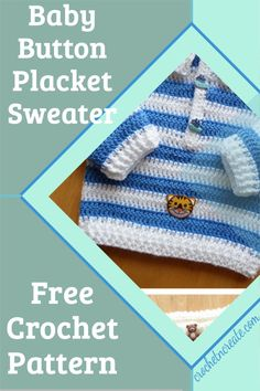 Free crochet baby placket sweater sweet little pattern on crochetncreate, make for gifts. Crochet Sweaters, Baby Sweaters, All Free Crochet, Double Crochet, Stitch Patterns, Crochet Patterns, Crochet Baby Clothes, Free Baby Stuff, Baby Outfits