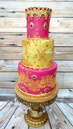 Rehana - Gold and pink Indian Fashion Collaboration - Cake by Izzy's Cakes