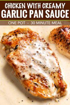 Creamy Garlic Sauce, Creamy Garlic Chicken, Baked Chicken, Chicken In A Pan, Smothered Chicken, Chicken In Cream Sauce, Oven Chicken, Garlic Butter, Cracker Chicken
