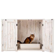 Litter Box Farmhouse Style Credenza | Litter-Robot Cat Furniture, Furniture For You, Hidden Litter Boxes, Litter Robot, Rustic White, Modern Farmhouse Style, Credenza, Living Spaces, Creatures