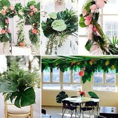 AerWo Large Artificial Tropical Palm Leaves, by Hawaiian Luau Party Jungle Beach Theme Decorations for Table Decoration Accessories Hawaiian Party Decorations, Hawaiian Luau Party, Party Table Decorations, Decoration Table, Luau Wedding, Wedding Reception, Baby Boy Room Decor, Leaf Table, Beach Themes