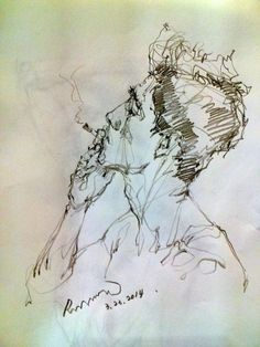 Male Portrait, Man Smoking, Sketch with Extra Fine Sharpie, Line Drawing, by Saera.: