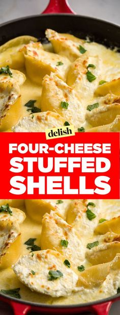 Four-Cheese Stuffed Shells. Easy to make and to die for delicious!!