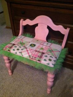 CUTE LITTLE BENCH I PAINTED PINK AND REHUPOLSTERED IN JOHN DEER FABRIC WITH GREEN TULLE!