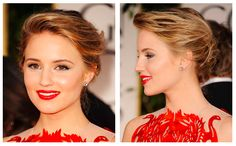 Red carpet hair style. Stylish updo - Dianna Agron. Celebrity hairstyle
