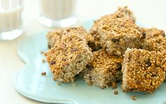 If you're always looking for a new way to eat oatmeal, how about on the go? You can enjoy these tasty squares warm, at room temperature or even cold for breakfast or a snack. They're simple to make ahead and keep in an airtight container in the refrigerator so you can grab and go throughout the week.  Steel cut  oats baked like this will retain much of their crunch