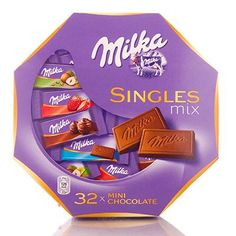 Milka Assorted Singles Mix 147g (Assorted Mini Chocolate Bars). As a single person, I would feel obliged to eat the whole box. ;-)