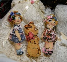 miniature cloth pillow dolls Two dolls and dog by LittleBearPaws, $18.50