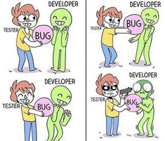 bug…and developer… . Stupid Funny Memes, You Funny, Funny Quotes, Best Funny Pictures, Funny Images, Programming Humor, Computer Humor, Cartoon Memes, Cartoons