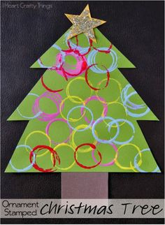 """""""Ornament"""" Stamped Christmas Tree Craft (from I Heart Crafty Things)"""